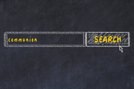 Chalkboard drawing of search browser window and inscription communion