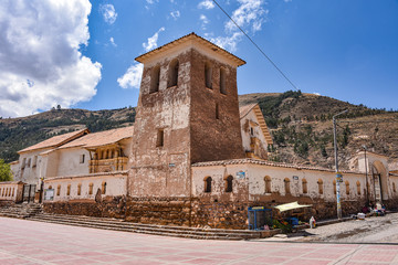 Temple of the Immaculate Virgin of Checacupe, an elaborate Barroque style church located south of Cusco, Peru