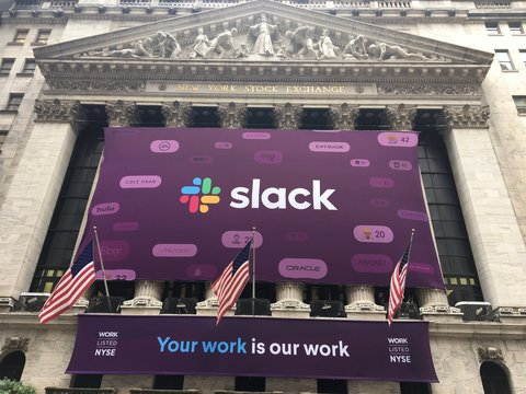 NEW YORK CITY - JUNE 21, 2019: Slack Technologies Inc. (NYSE: WORK) initial public offering IPO with direct listing on New York Stock Exchange. Stewart Butterfield CEO.