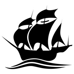 Old timey sailing or pirate ship clipart