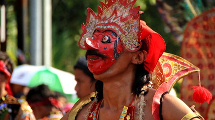 Pekalongan,Central Java/Indonesia - 6 October April 2019 : participants parade in puppet costumes while in action, Reog Ponorogo player