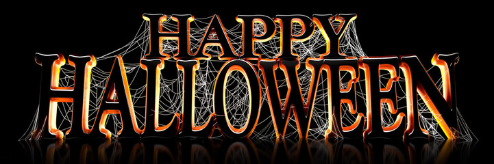 Backlit Happy Halloween text covered in spooky spider webs banner - 3d render
