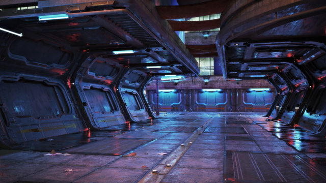 Urban city retro futuristic back drop sci fi corridor background with neon accents. 3d rendering.