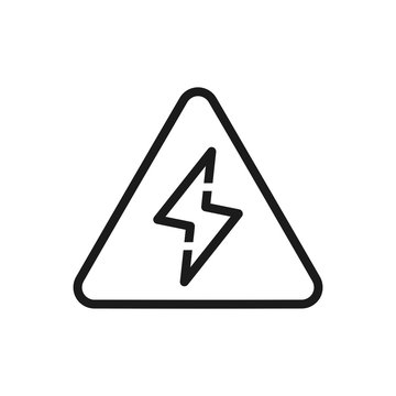 Lightening bolt icon. High voltage caution concept. Outline thin line icon. Isolated on white background.