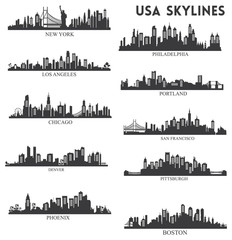 Usa skyline silhouette collection vector
