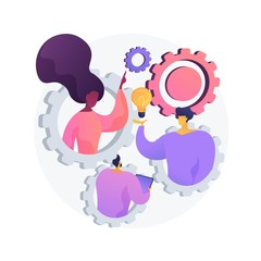 Team building exercise. Idea generation, brainstorm, business plan development. Productive teamwork, colleagues cooperation, creative entrepreneurship. Vector isolated concept metaphor illustration