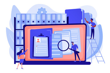 Obraz Organized archive. Searching files in database. Records management, records and information management, documents tracking system concept. Pink coral blue vector isolated illustration - fototapety do salonu