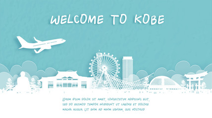 Fototapete - Travel poster with Welcome to Kobe, Japan famous landmark in paper cut style vector illustration.