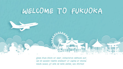 Fototapete - Travel poster with Welcome to Fukuoka, Japan famous landmark in paper cut style vector illustration.
