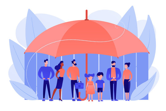 Individuals under umbrella protection against economic hazards. Social insurance, economic hazards risk, social security number concept. Pinkish coral bluevector isolated illustration