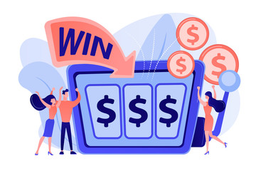 Lucky tiny people gambling and winning money at slot machine with dollar sign. Slot machine, money game winner, jackpot win concept. Pinkish coral bluevector isolated illustration