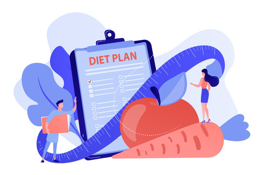 Tiny people nutritionist and diet plan checklist with vegetables, fruit. Nutrition diet, weight-management diet, individual dietary service concept. Pinkish coral bluevector isolated illustration