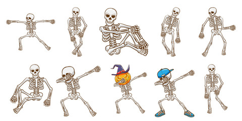 skeleton vector set clipart design