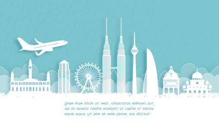 Fototapete - Travel poster with Welcome to Malaysia famous landmark in paper cut style vector illustration.
