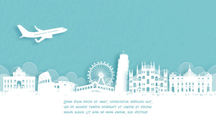 Fototapete - Travel poster with Welcome to Italy famous landmark in paper cut style vector illustration.