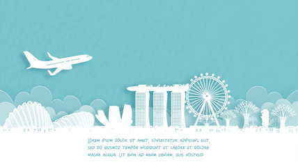 Fototapete - Travel poster with Welcome to Singapore famous landmark in paper cut style vector illustration.