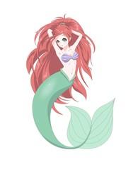 Anime manga cute mermaid print vector illustration