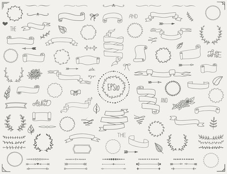 Hand drawn scrolls and banners big collection of decorative elements in vintage style. Vector eps10