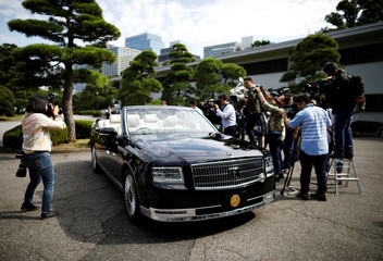 A special convertible car which will be used for Japanese new Emperor Naruhito and Empress Masako's parade is displayed at the Imperial Palace in Tokyo