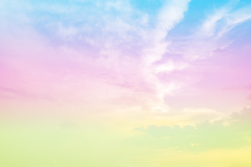 Foto op Canvas Purper soft focus of sweet rainbow pastel vintage tone colors sky background