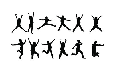 set child jump logo icon design vector