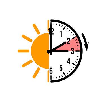 spring forward 1 hour, vector icon with sun