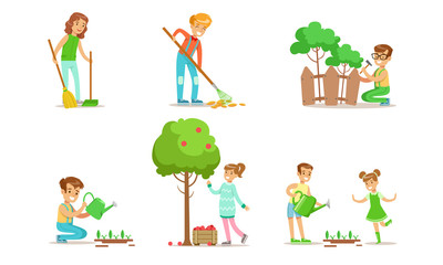 Children Volunteering in the Garden or Park Set, Teen Boys and Girls Watering Seedlings, Repairing Fence, Sweeping and Raking Leaves, Harvesting Vector Illustration