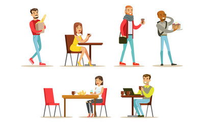 Collection of People Sitting at Tables, Drinking Coffee or Tea at Cafe, Visitors Buying Desserts, Baguette and Drinks at Bakery Shop or Confectionery Vector Illustration