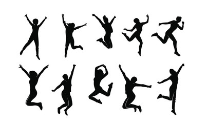 set young people jump fun logo icon design vector