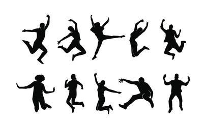 set young people jump fun logo icon design vector