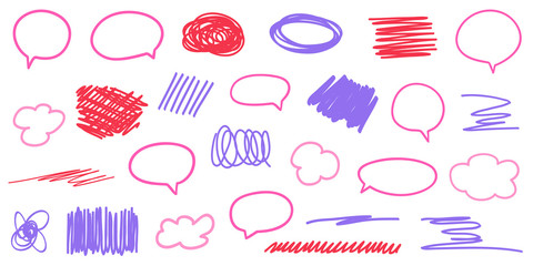 Speech bubbles. Colored sketchy shapes on white. Scribble colorful backgrounds with array of lines. Line art creation