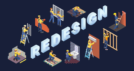 Obraz Isometric redesign services concept. Team of builders are works. Vector. - fototapety do salonu