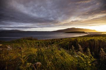 Aluminium Prints Dark grey Beautiful scenic landscape of Scotland nature with beautiful evening sun set sky.