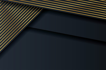 Luxury abstract dark background with gold lines. Decorative element for design. Wall mural