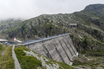 Gerola Alta, Sondrio, Italy, August 18, 2019 - Lake Inferno (2085 m), an antificial lake formed by a dam managed by Enel energy company