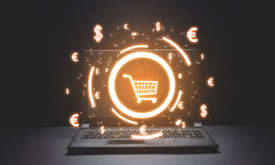 Shopping cart and currency symbols. Online Shopping