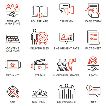 Vector set of linear icons related to business management process, advertising promotion and marketing. Mono line pictograms and infographics design elements - 12