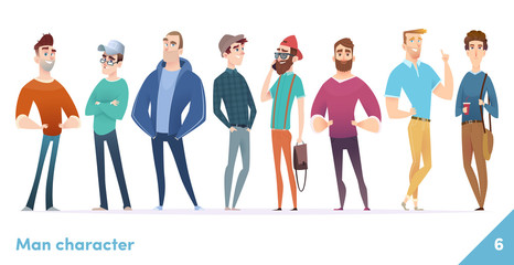 People character design collection. Males or manegers stand together. Young professional males poses.