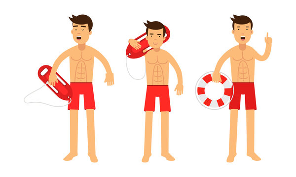 Three Young Handsome Men Baywatchers At Their Job Set Of Vector Illustrations