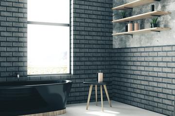 Gray brick bathroom