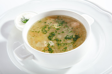 White Fish Mix Soup with Cod, Pike, Perch and Sea Bass