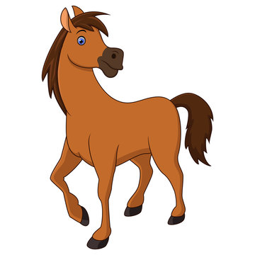 Vector illustration of Brown horse cartoon