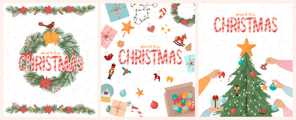 Set of Merry Christmas cards with christmas tree, gift box, floral wreath. Editable Vector illustration