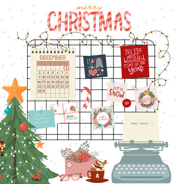 Christmas mood board, Interior wall decor template with cute Inspirationel holiday posters, christmas tree and type writer. Vector Illustration