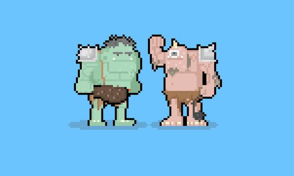 Pixel art cartoon troll character.