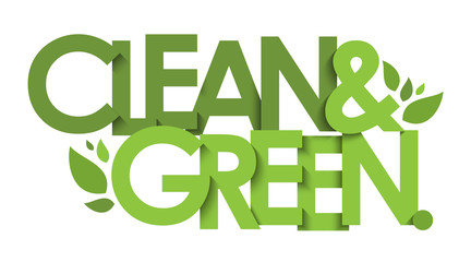 CLEAN & GREEN green vector typography with leaves