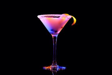 Glass of tasty cocktail on dark background