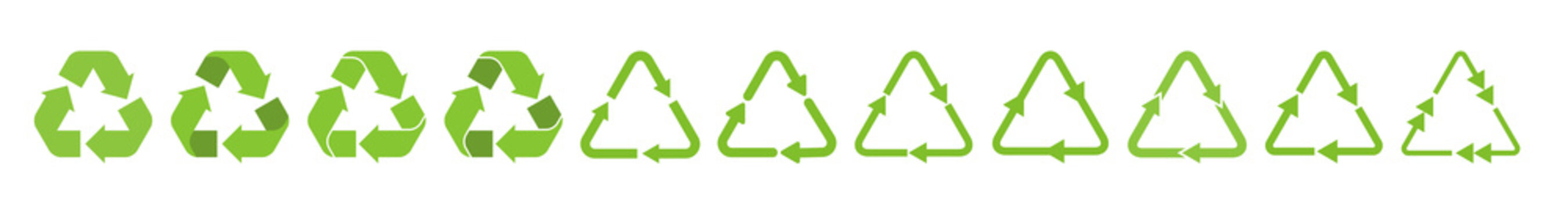 Recycle triangle arrow symbols set vector illustration. Green solid pictograms of reuse or recycling process, arrow cycle in triangle shape isolated on white background for enviromental infographic