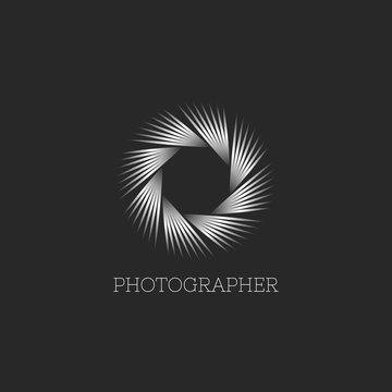 Photo studio or photographer logo abstract endless aperture symbol of the camera lens, linear design of thin lines modern metal gradient