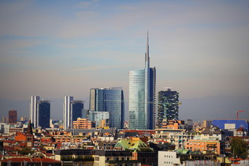 Milan skyline with modern skyscrapers in Porto Nuovo business district, Italy. Panorama of Milano city for background